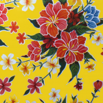Ben Elke Mexican Oil Cloth Tablecloth Large Hibiscus Flower Yellow