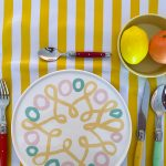 Ben Elke Stripes Yellow Large Oil Cloth Tablecloth
